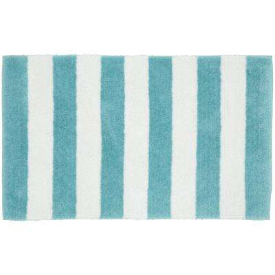 Beach Stripe Seafoam/White 21 in. x 34 in. Bath Rug