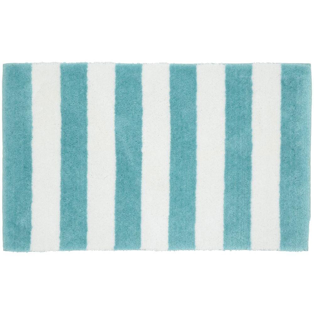 Beach Stripe Seafoam/White 21 in. x 34 in. Bath Rug
