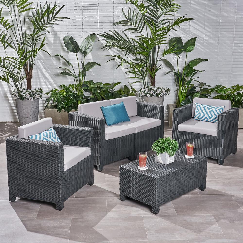 Noble House Primrose Dark Gray 4-Piece All Weather Faux Wicker Patio Conversation Set with Gray Cushions