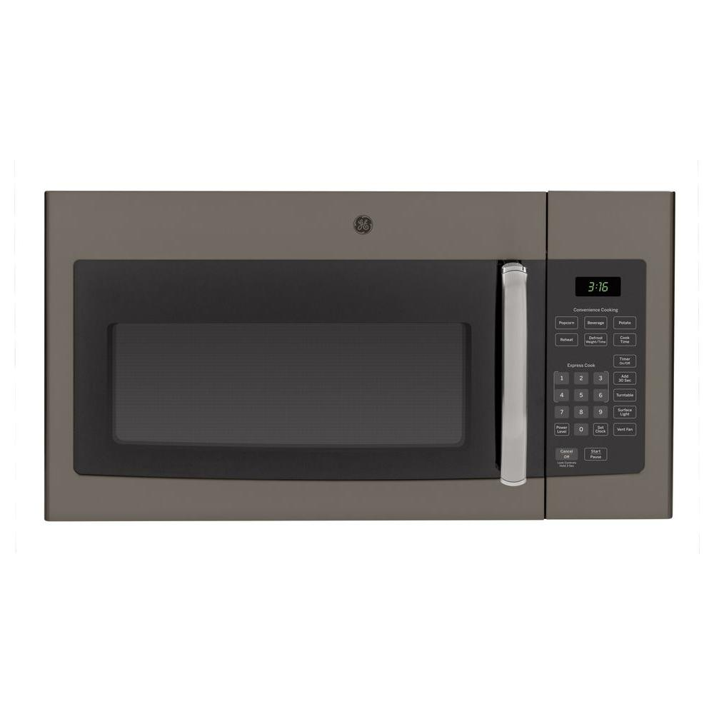 Ge 1 6 Cu Ft Over The Range Microwave Oven In Slate
