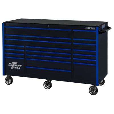 RX Series 72 in. 19 -Drawer Roller Cabinet Tool Chest in Black with Blue Handles