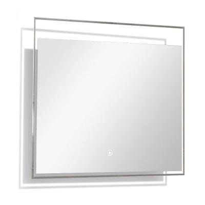 Taylor 23.62 in. W x 23.62 in. H Frameless Square LED Light Bathroom Vanity Mirror in Silver