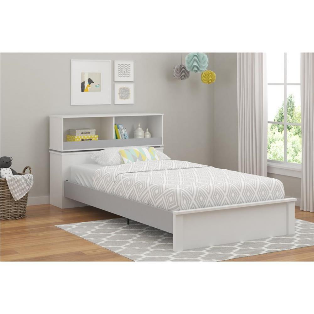 cosco leni white u0026 light slate gray twin storage bed