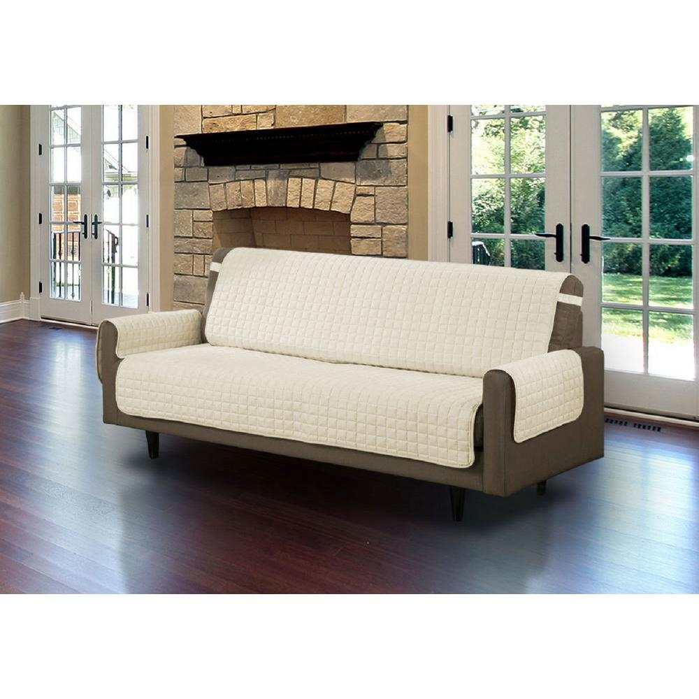 Beige Microfiber Sofa Pet Protector Slipcover With Tucks