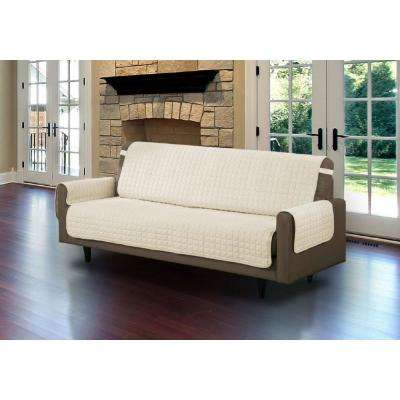 Beige Microfiber Sofa Pet Protector Slipcover With Tucks And Strap