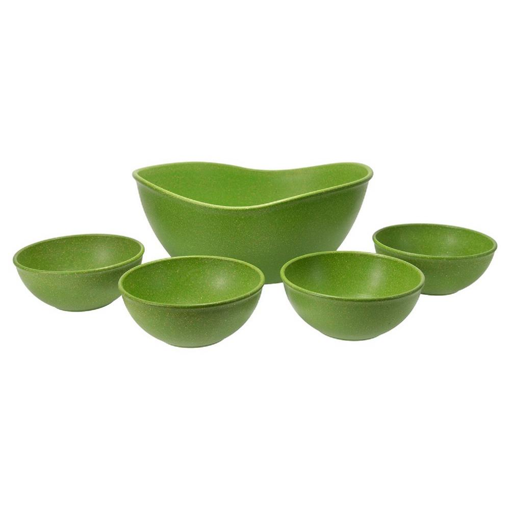 EVO Sustainable Goods Green Eco-Friendly Wood-Plastic Composite Serving Bowl Set