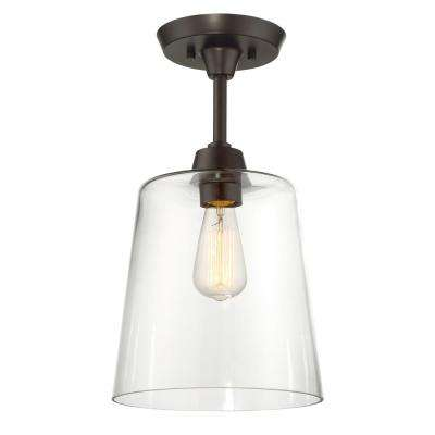 1-Light Oil Rubbed Bronze Semi-Flush Mount