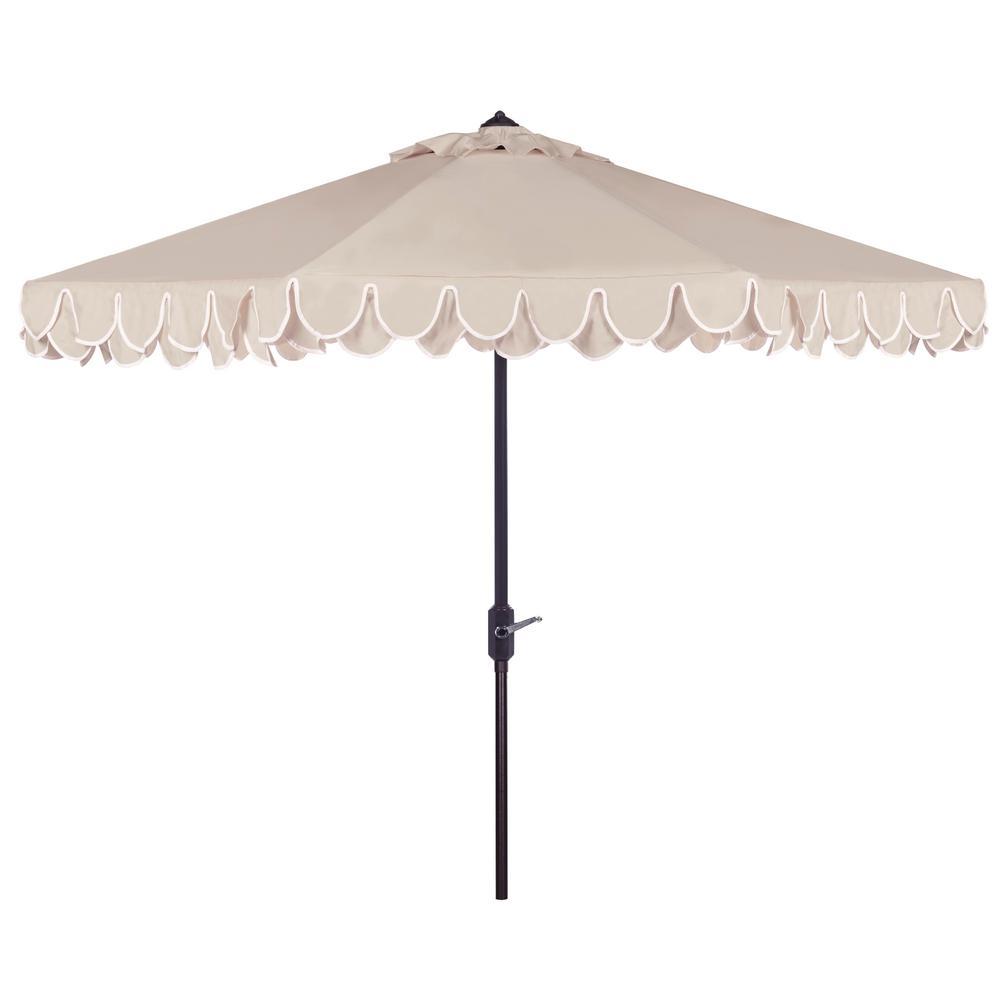 Elegant Valance 9 ft. Aluminum Market Auto Tilt Patio Umbrella in Beige/White