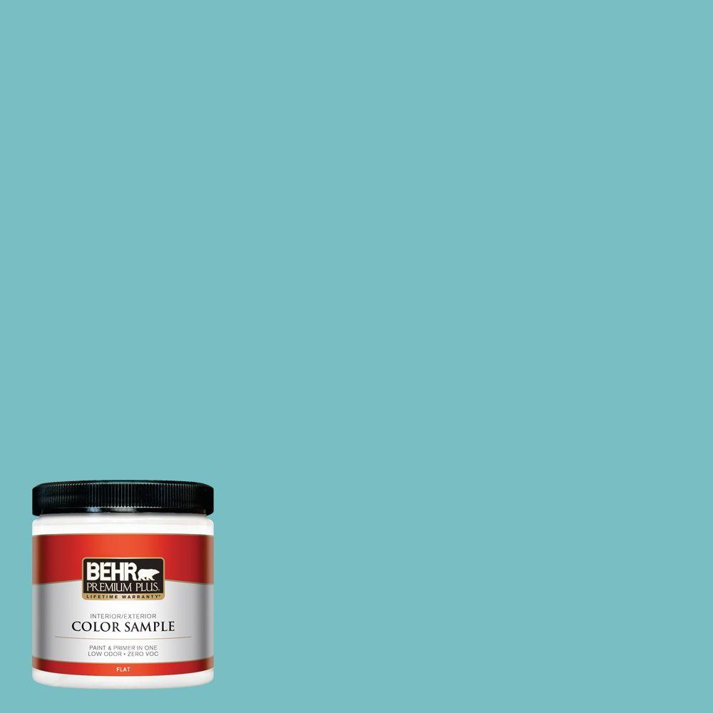 BEHR Premium Plus 8 oz. #M460-4 Pure Turquoise Interior/Exterior Paint Sample