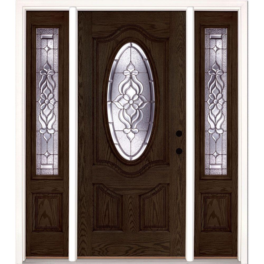 Feather River Doors 63.5 in.x81.625 in. Lakewood Zinc 3/4 Oval Lite Stained Walnut Oak Left-Hand Fiberglass Prehung Front Door w/ Sidelites
