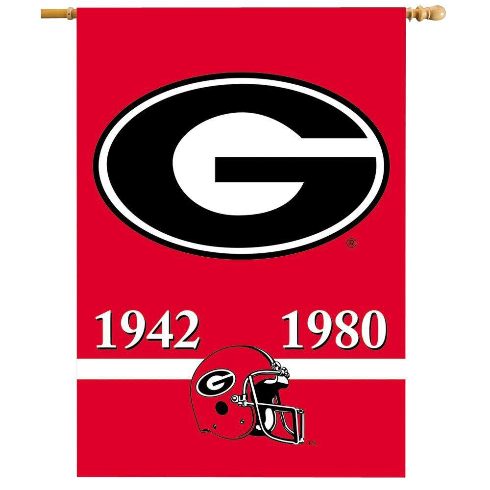 BSI Products NCAA 28 in. x 40 in. Georgia Champ Years 2-Sided Banner with Pole Sleeve