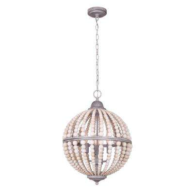 Vesta 3-Light Brushed Grey Chandelier with Real Wood Beads