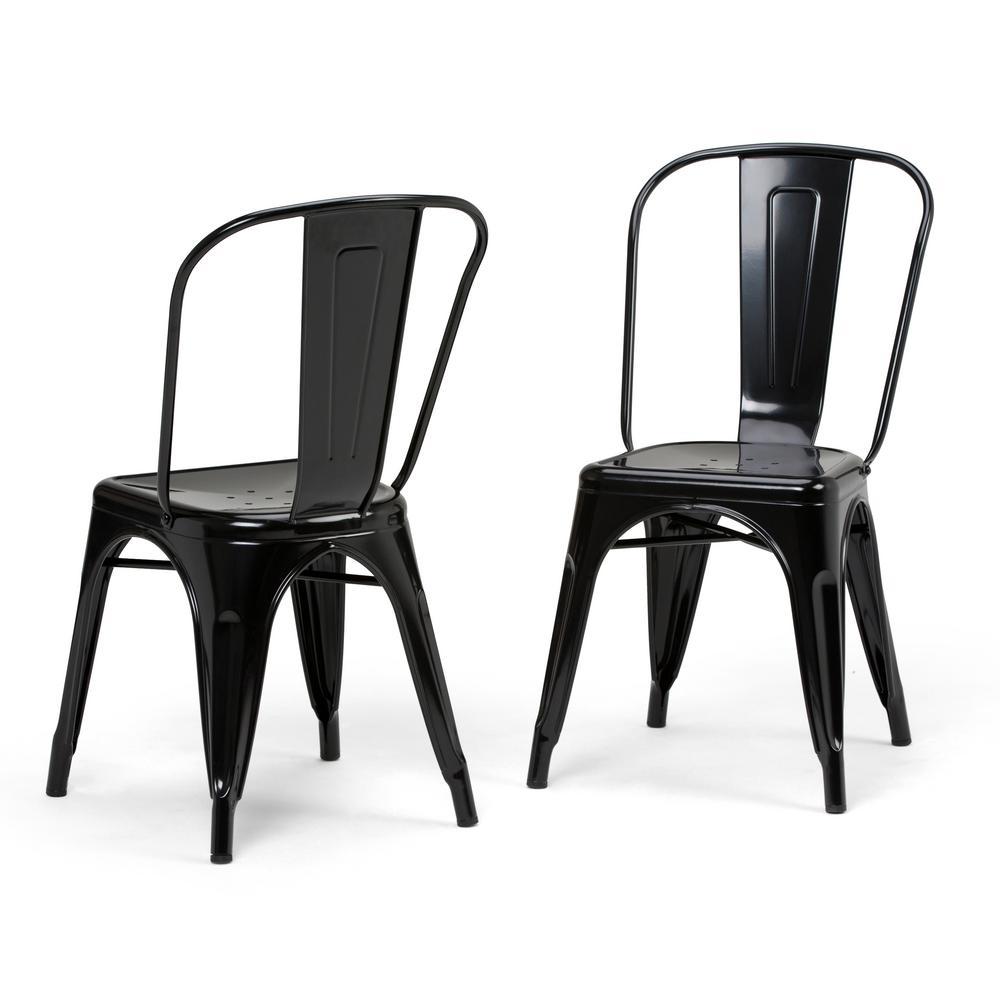 Fletcher Industrial Metal Dining Side Chair (Set Of 2) In Black
