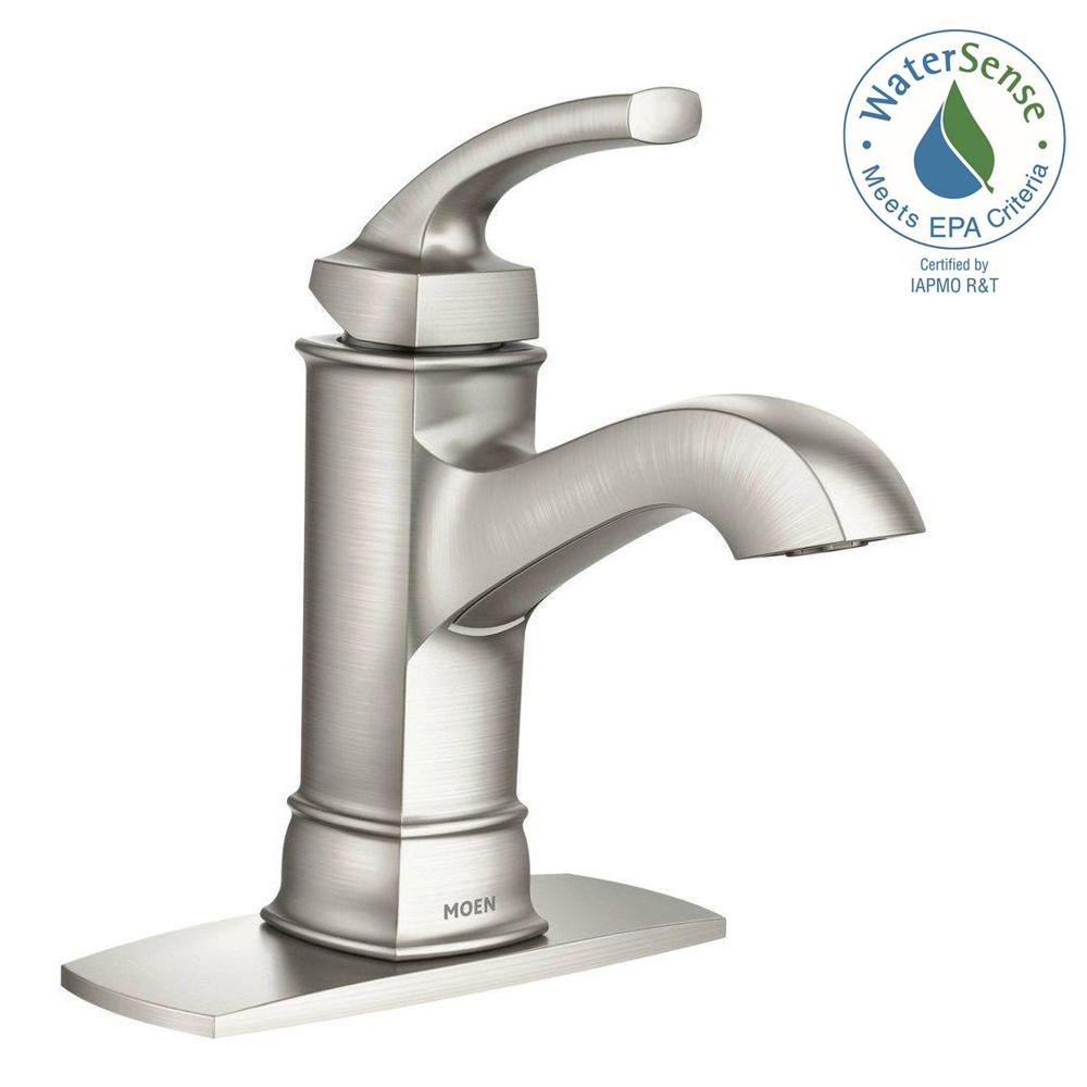 Hensley Single Hole 1 Handle Bathroom Faucet Featuring Microban Protection  In Spot Resist Brushed Nickel