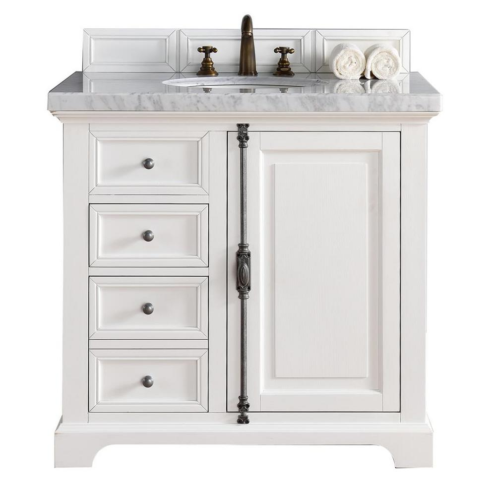 James Martin Signature Vanities Providence 36 in. W Single Vanity in Cottage White with Marble