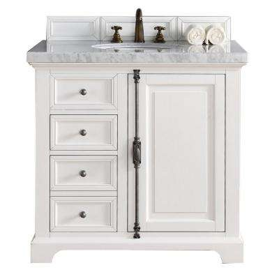 Providence 36 in. W Single Vanity in Cottage White with Marble Vanity Top in Carrara White with White Basin