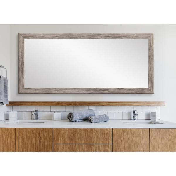 Oversized Weathered Gray Composite Hooks Farmhouse Rustic Mirror (71.5 in. H X 32.5 in. W)