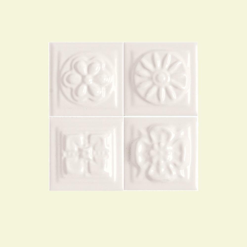 Daltile Fashion Accents White 2 in. x 2 in. Ceramic Boquet Dots Accent Wall Tile