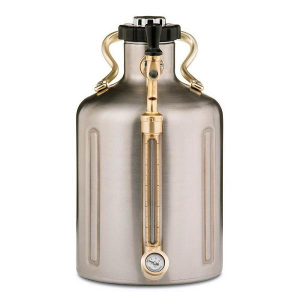 GrowlerWerks uKeg 128 oz. Stainless Steel Pressurized Growler GWA1002-ST-NB-00