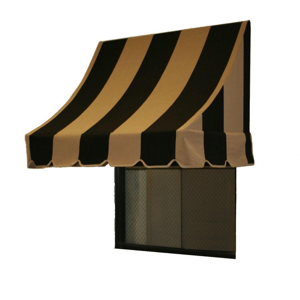 AWNTECH 14 ft. Nantucket Window/Entry Awning (56 in. H x 48 in. D) in Black/Tan Stripe
