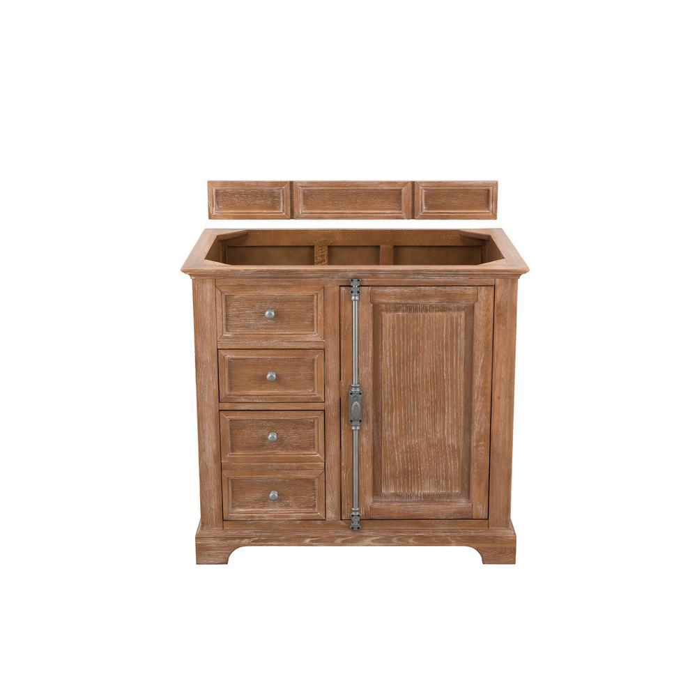 Savannah 36 in. Single Bath Vanity in Driftwood with Marble Vanity Top in Galala Beige with White Basin
