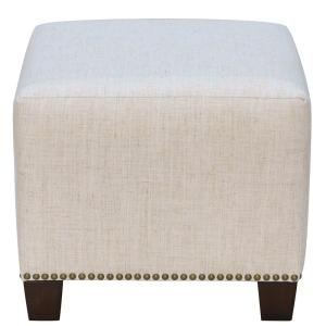 Marvelous Linen Talc Square Nail Button Ottoman Caraccident5 Cool Chair Designs And Ideas Caraccident5Info