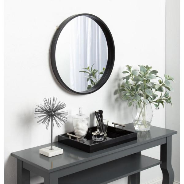 Kate and Laurel Travis Round Black Mirror 211567 - The Home ...