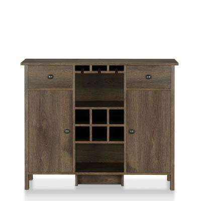 Timothy 6-Bottle Distressed Walnut Wine Bar Cabinet