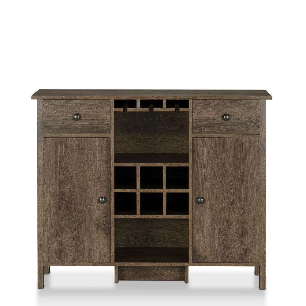 Timothy 6-Bottle Distressed Walnut Wine Bar Cabinet