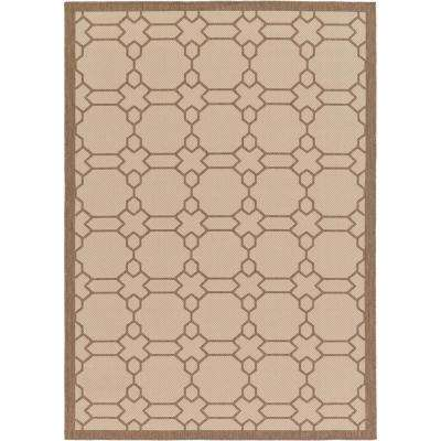 Outdoor Geometric Beige 7' 0 x 10' 0 Area Rug