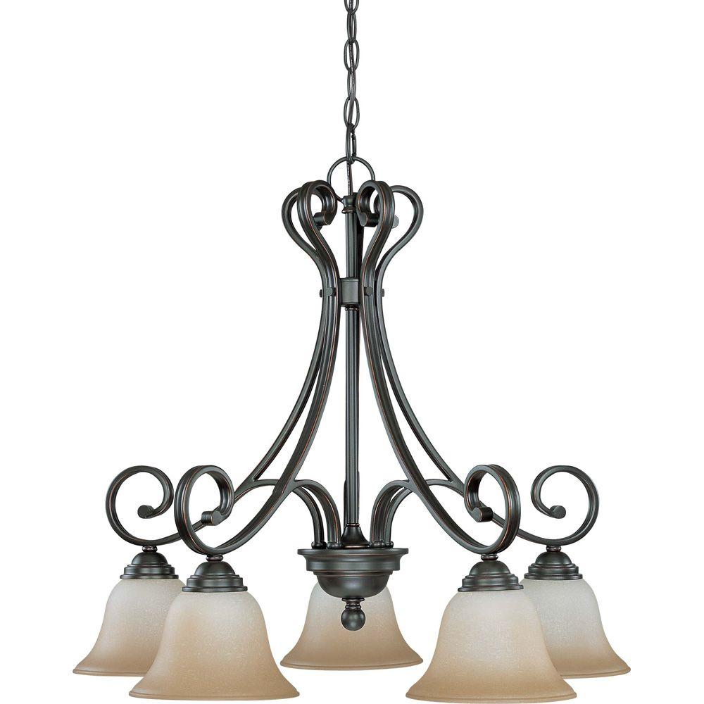 Glomar 5-Light Sudbury Bronze Arms Down Chandelier with Champagne Linen Glass Shade