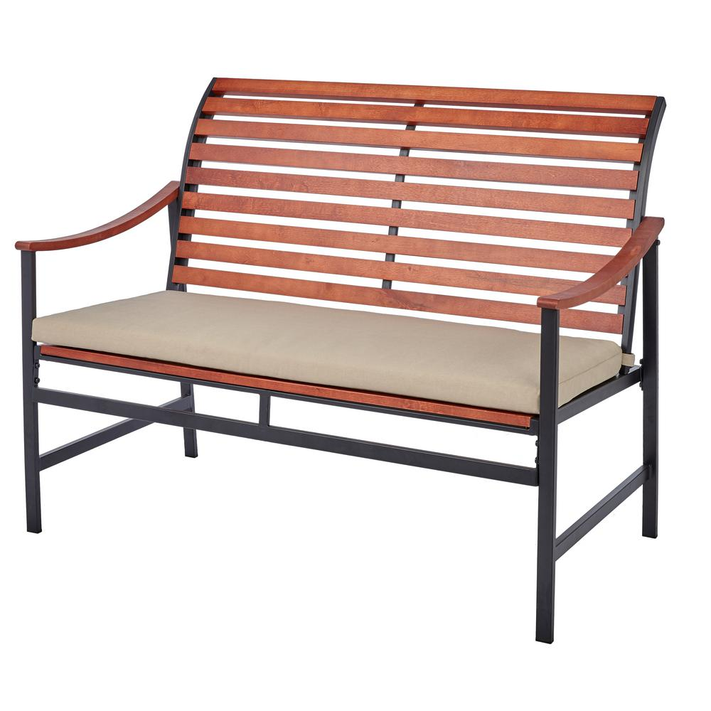 Plaza Mayor Wood Outdoor Bench with Cream Cushion