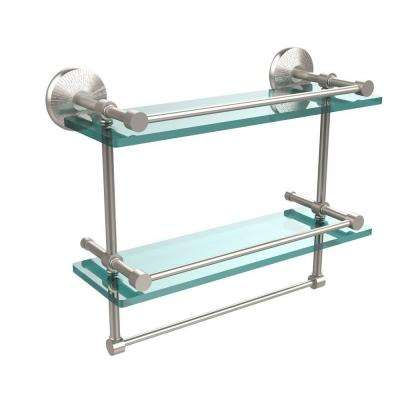Monte Carlo 16 in. L  x 12 in. H  x 5 in. W 2-Tier Clear Glass Bathroom Shelf with Towel Bar in Satin Nickel