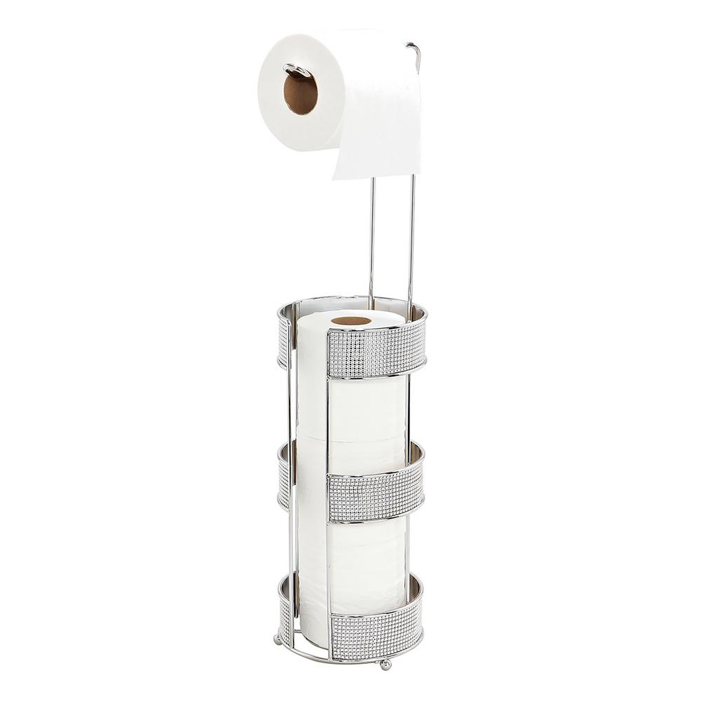 Toilet Paper Holder and Dispenser in Pave Diamond Design