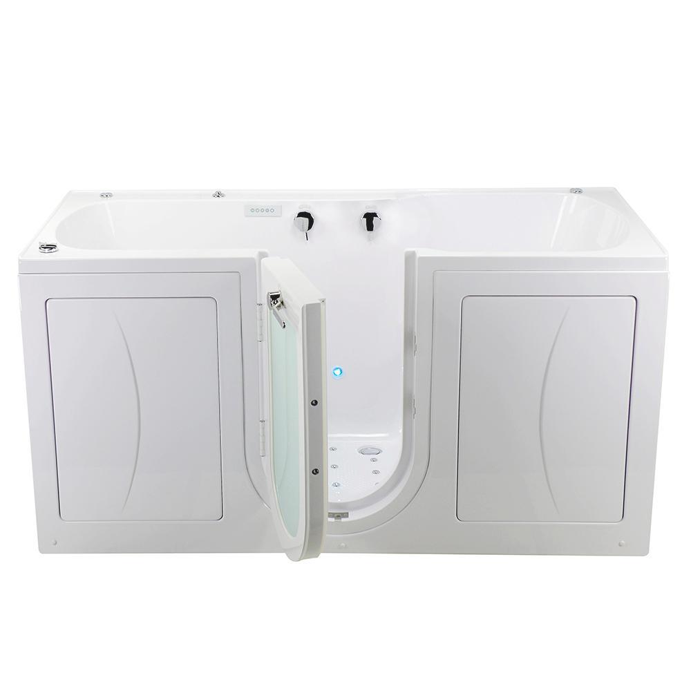 80 in. Big4Two Acrylic Walk-In Whirlpool, Air, Foot Massage Tub in White, Outward Swing Door, Dual Drain