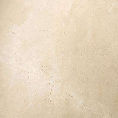 Marble Crema Marfil Classico Polished 23.62 in. x 23.62 in. Marble Floor and Wall Tile