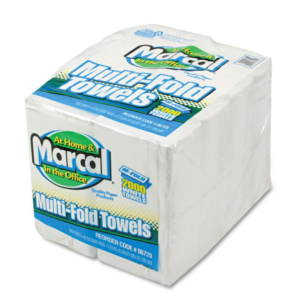 Embossed White Multi-Fold Paper Towel (8-Pack)
