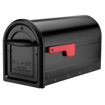 Mapleton Post Mount Mailbox Black with Red Flag