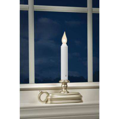 9 in. Warm White LED Deluxe Battery Operated Candle with Pewter  Base