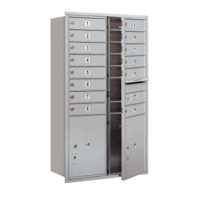 3700 Series 48 in. 13 Door High Unit Aluminum Private Front Loading 4C Horizontal Mailbox with 14 MB1 Doors/2 PL5's