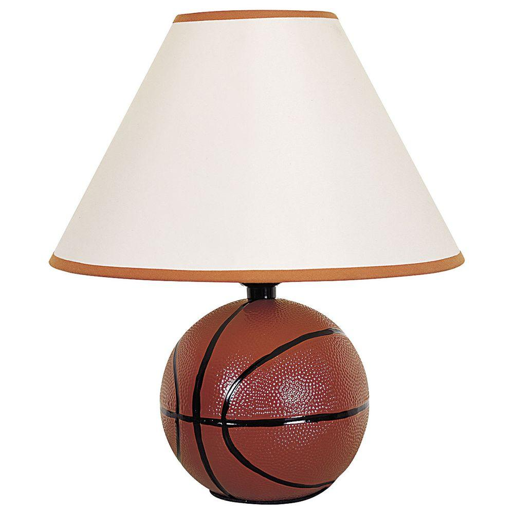 ORE International 12 in. Ceramic Basketball Orange Table Lamp