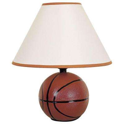 12 in. Ceramic Basketball Orange Table Lamp