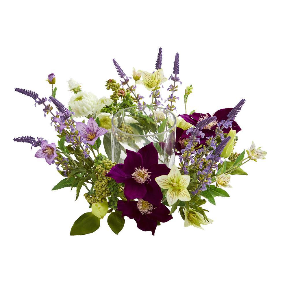 Indoor Mixed Floral Artificial Arrangement Candelabrum