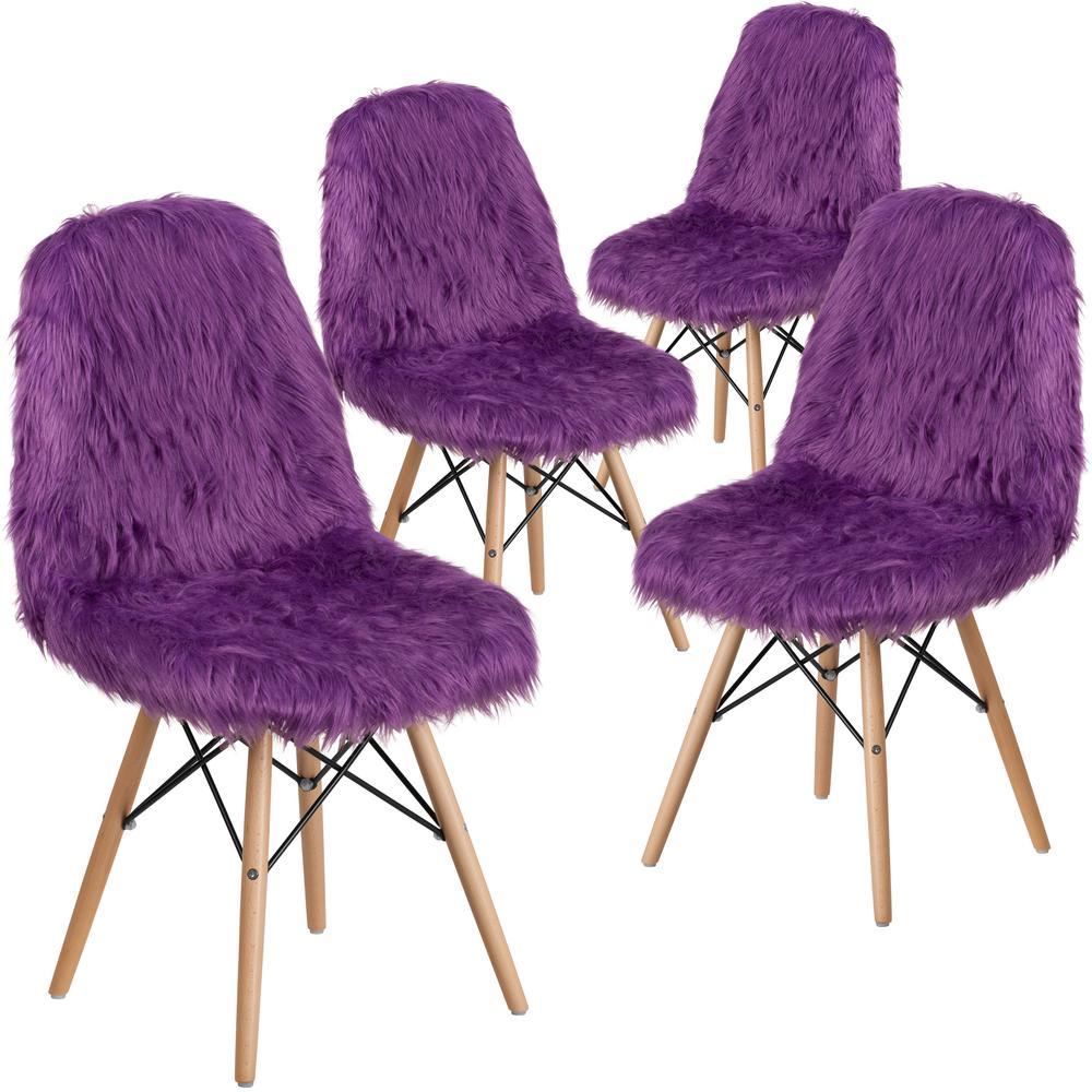 Purple Furry Chair (Set of 4)