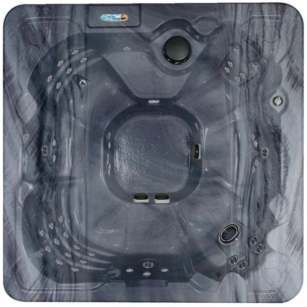 QCA Spas Salerno 8-Person 90-Stainless Steel Jet Standard Hot Tub w/Ozonator LED Light Polar Insulation, Neck Jets and Hard Cover