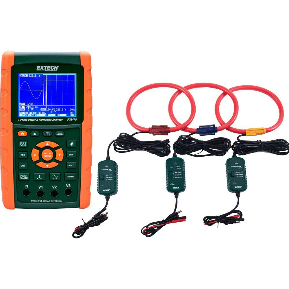 3-Phase Graphical Power and Harmonics with 3000A Current Clamp Probe