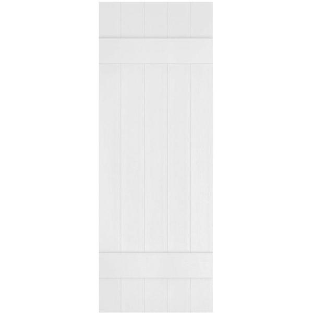 Ekena Millwork 17 1 2 In X 39 In Lifetime Vinyl Custom Five Board Joined Board And Batten Shutters Pair Bright White Lj5c17x03900bw The Home Depot