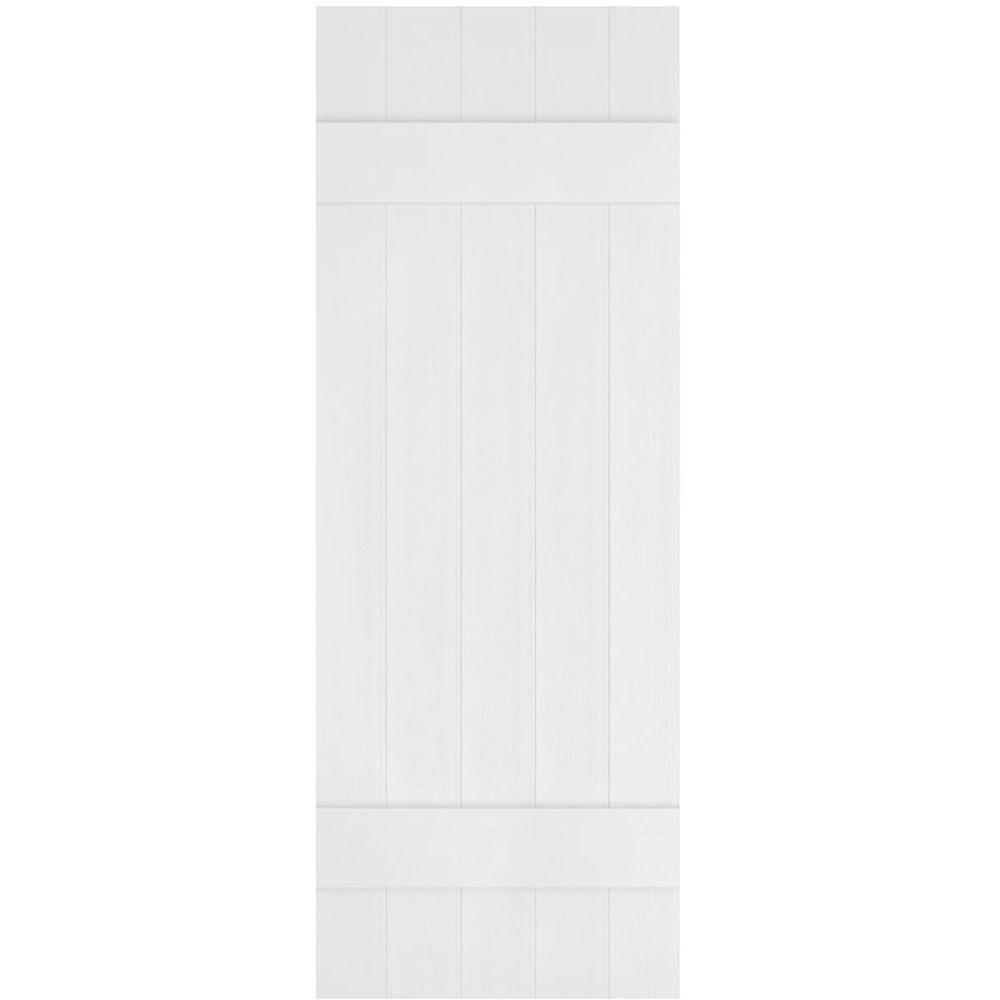 Ekena Millwork 17-1/2 in. x 44 in. Lifetime Vinyl Custom Five Board Joined Board and Batten Shutters Pair Bright White