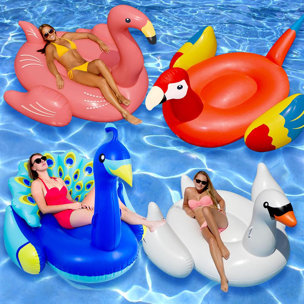 Swimline Giant Pea White Swan Flamingo And Parrot Swimming Pool Float Combo
