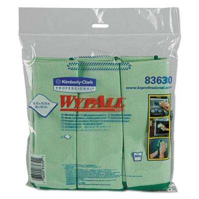 15 3/4 x 15 3/4 Microfiber Cloths, Reusable, Green, (24 Per Carton)